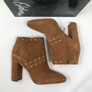 NEW Sam Edelman Camel Suede Gold Studded Boots